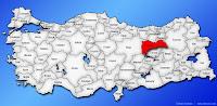 Erzincan ilinin Türkiye haritasında gösterimi