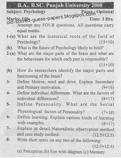 Psychology thesis papers