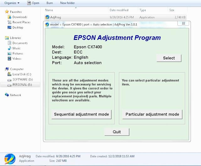 Resetter Epson Stylus CX7450