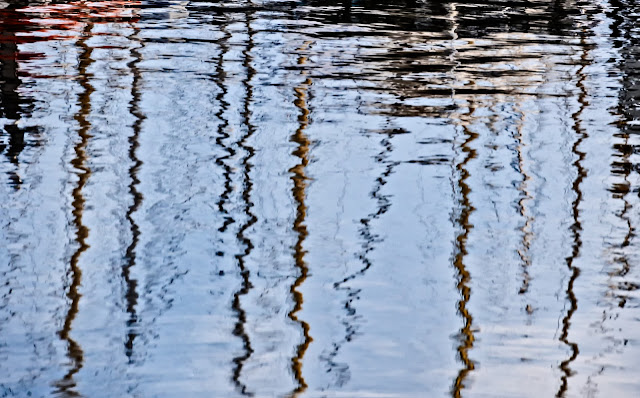 Photo of reflection of masts in the water at Maryport Marina