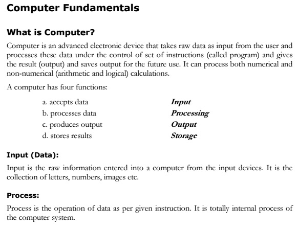 Computer Fundamental Study Material Lecture Notes PDF