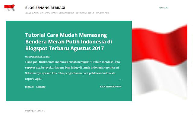 Tutorial Cara Mudah Memasang Bendera Merah Putih Indonesia di Blogspot Terbaru