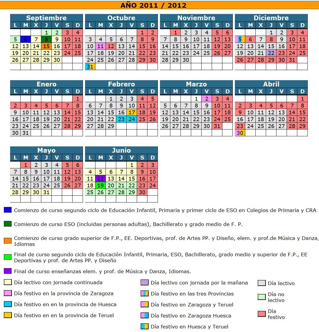 Aragon Calendario Escolar.Profesor De Eso Calendario Escolar Aragon Curso 2011 2012