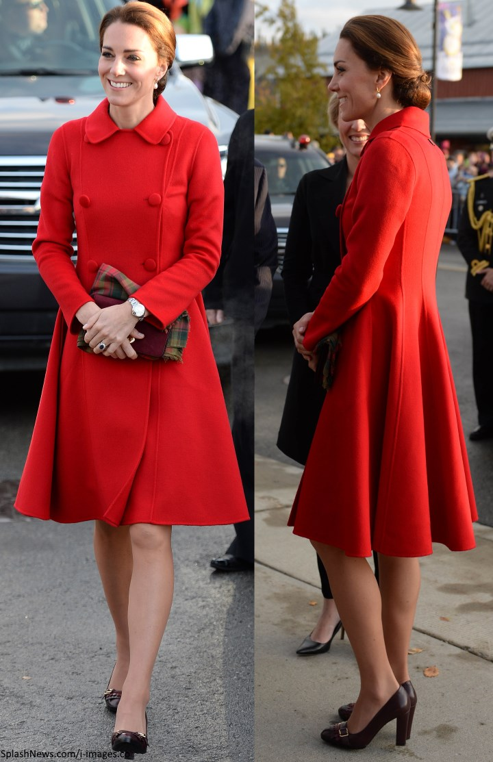 8f3936b8b79d3 Duchess Kate: It's Red Carolina Herrera for Wales v France Rugby Match!