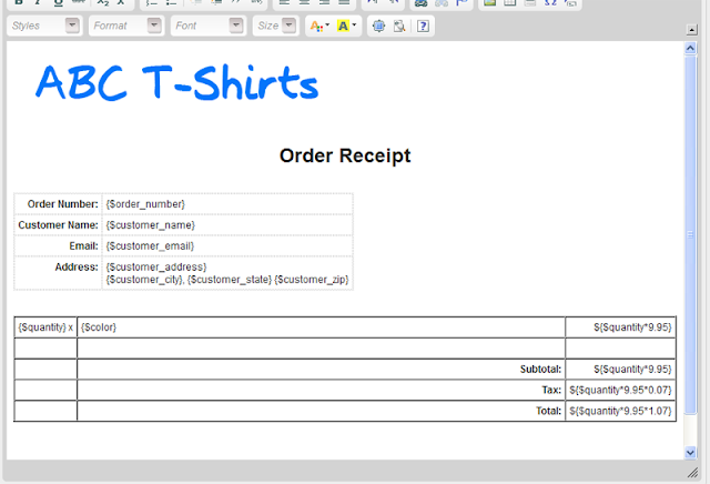 Simple T shirt order form templates