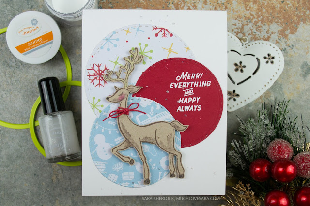 Simple Christmas card with a slight 1950's retro feel.  Created using the Fun Stampers Journey Merry Everything Stamp Set, and the Cozy Winter Prints.