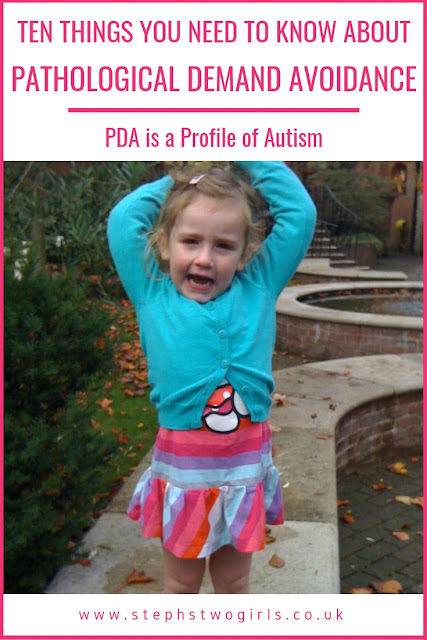 Pinterest pinnable image of toddler arms above head and ten things you need to know about pathological demand avoidance