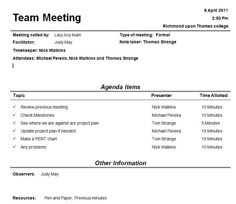 Team Meeting Agenda Sample | Team Building Agenda Sample