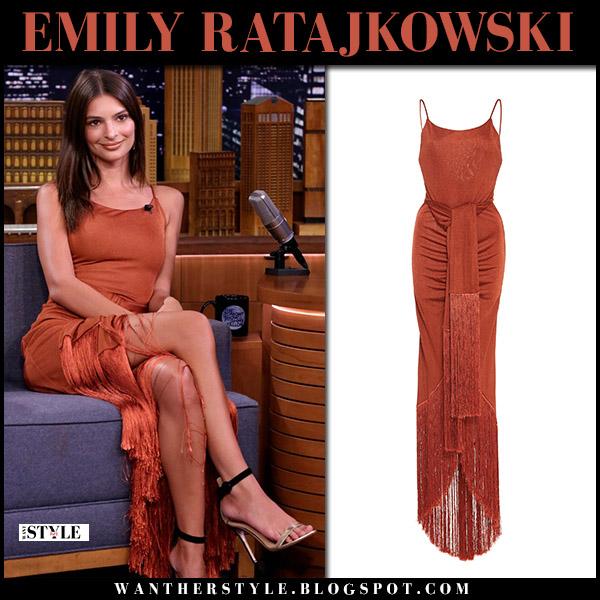 Emily Ratajkowski in burnt orange fringe dress cult gaia model style july 26