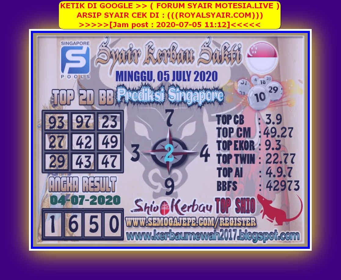 Kode syair Singapore Minggu 5 Juli 2020 181