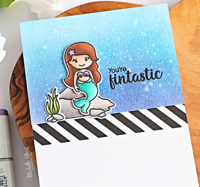 Sunny Studio Stamps: Background Basics Magical Mermaids Card by Michelle Short