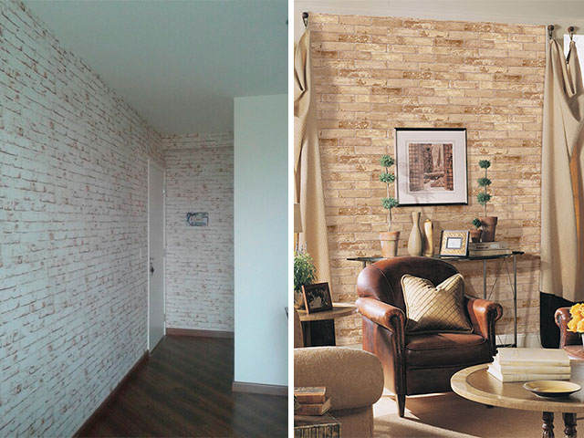 parede de tijolinho a vista tecido ou papel