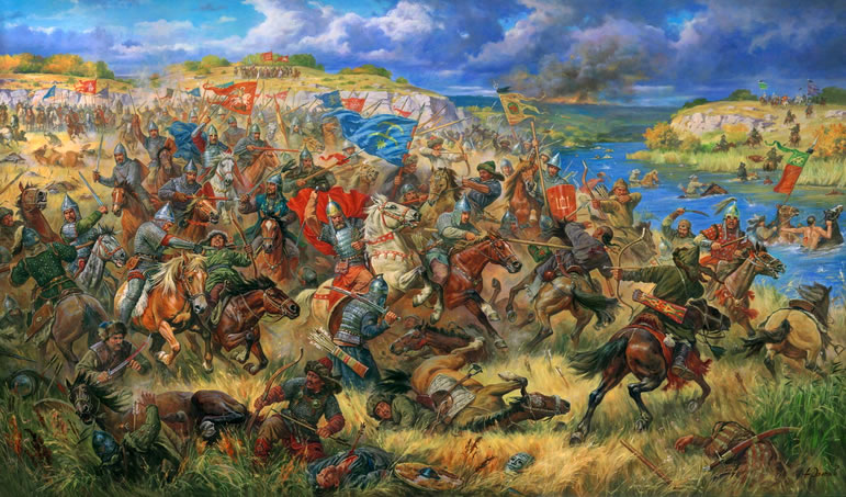 Battle between Mongols and Russian allied force on the Kalkha river