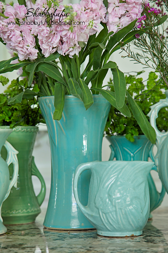 Adding pops of color to a room - vintage teal pottery