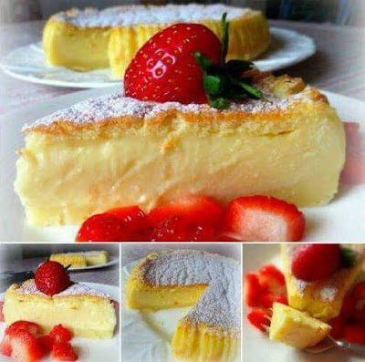 Custard Soft Cake With Strawberry
