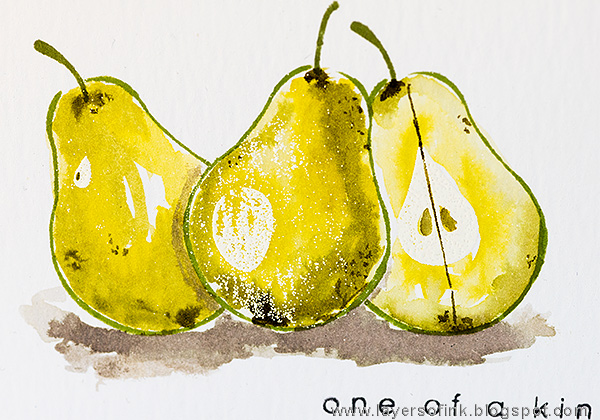 Layers of ink - Pear Artsy Fruit Watercolor Card Tutorial by Anna-Karin
