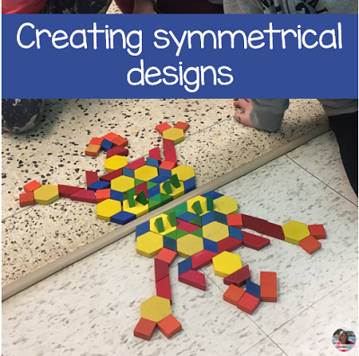 on 100s day create a symmetrical design with 100 pattern blocks.