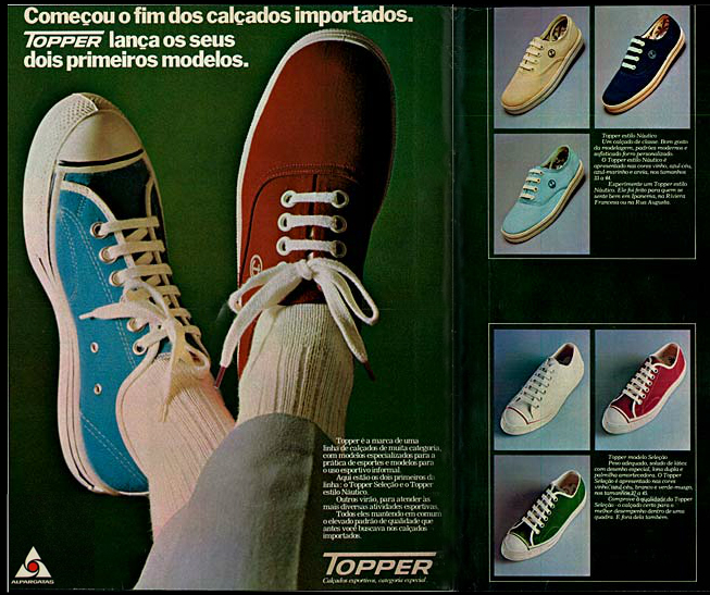 Campanha da Topper na metade dos anos 70 apresentando modelos nacionais dos seus famosos tênis