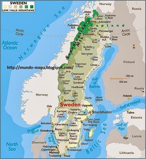 Mapa Politico De Suecia.Mapa De Suecia Politico