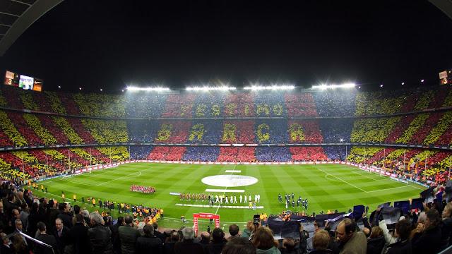 لوحة فنية لعشاق الكاتالوني من الملعب