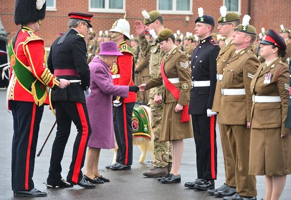Queen Elizabeth presented leeks to the Royal Welsh to mark St David's Day at Lucknow Barracks in Tidworth
