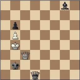 Problema de Fracesc Vivas Font, problemas SEPA 208/10, 1959, posición después de 5.Dc3+!
