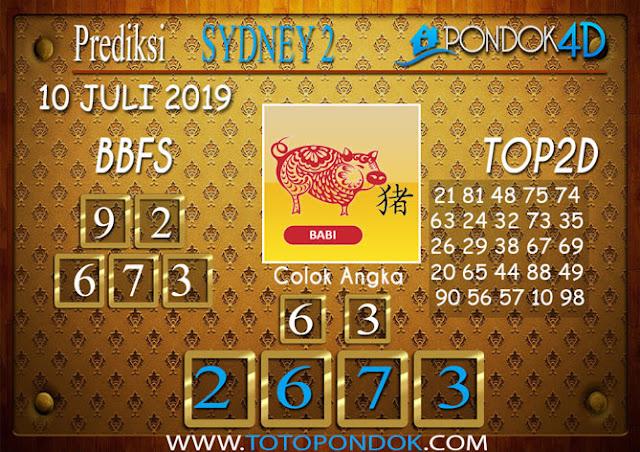 Prediksi Togel SYDNEY 2 PONDOK4D 10 JULI 2019