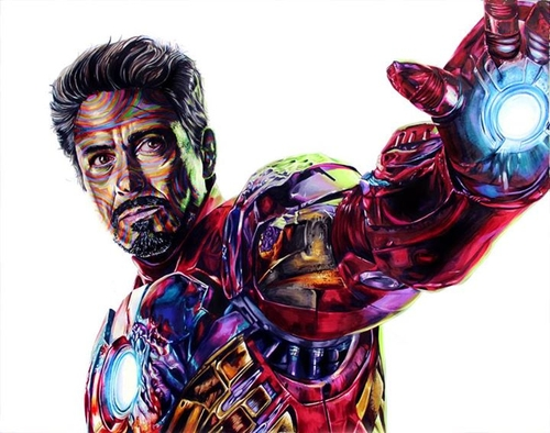09-Robert-Downey-Jr-Tony-Stark-Ironman-Joshua-Roman-Rainbow-Portraits-Drawings-Illustrations-www-designstack-co