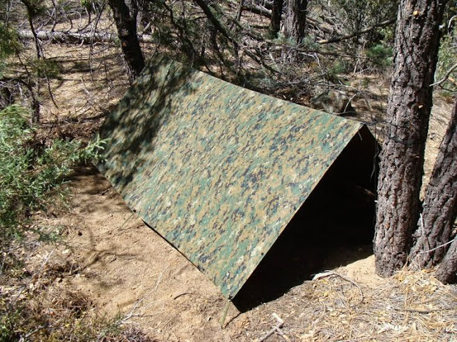 A quick tarp shelter can protect from winds , hot sun and rains