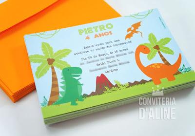 dinossauro convite