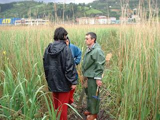 Ecologistas en el humedal de Ibarreta donde ahora está Megapark