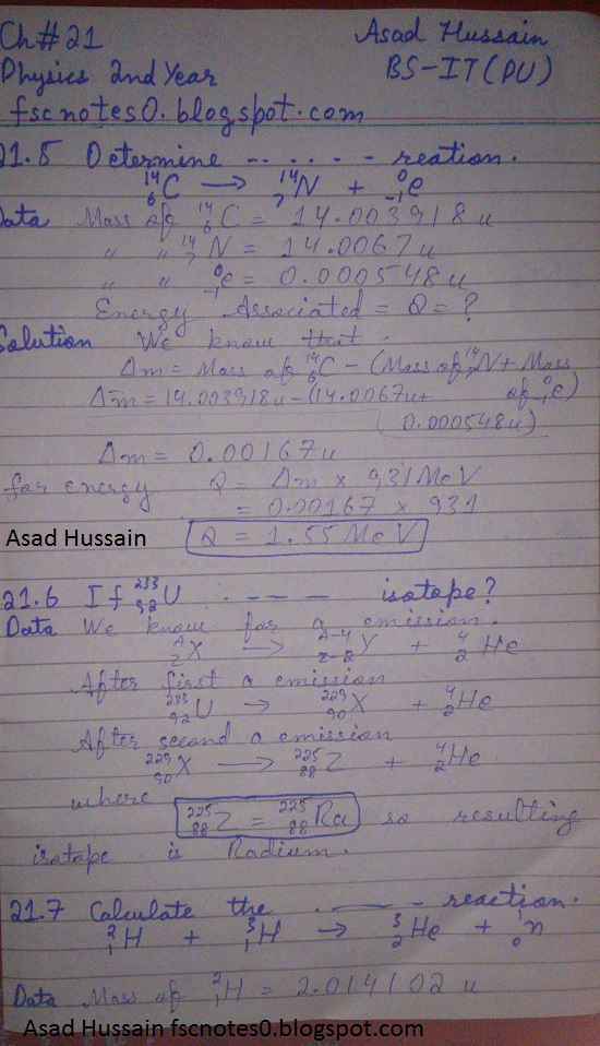 F.Sc ICS Notes: Physics XII: Chapter 21 Nuclear Physics Numerical Problems Asad Hussain 2