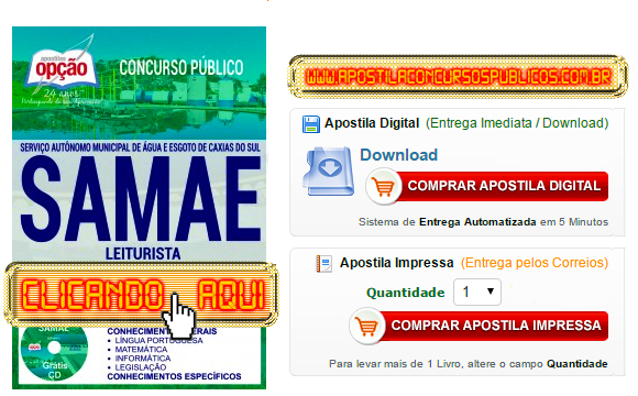 Apostila Concurso SAMAE 2017 Leiturista PDF Impressa