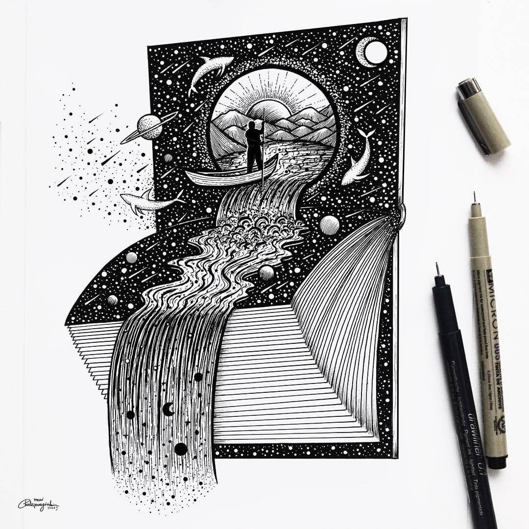 02-Space-Waterfall-Book-Meni-Chatzipanagiotou-Fantasy-and-Surrealism-in-Ink-Illustrations-www-designstack-co