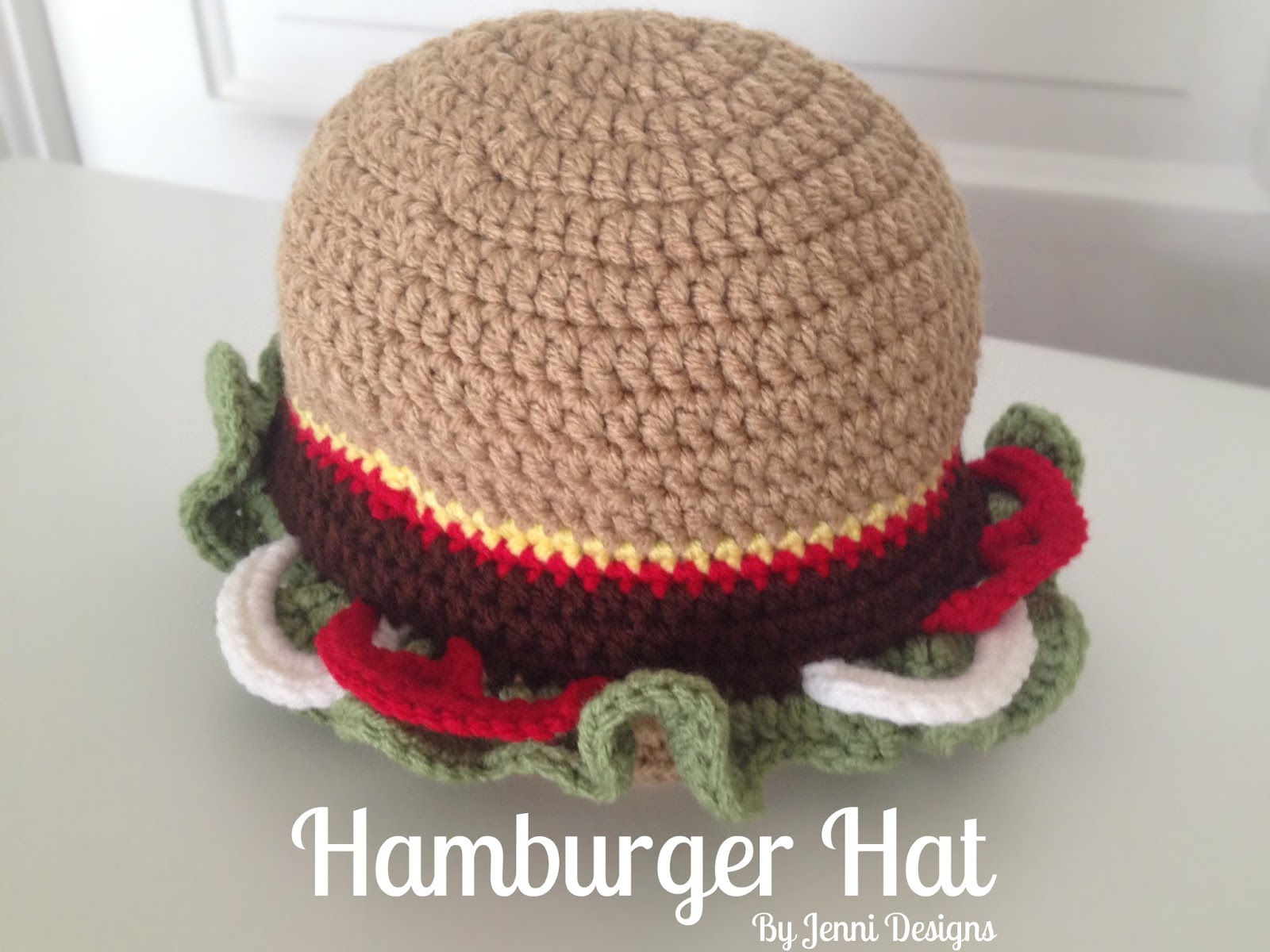 By Jenni Designs: Free Crochet Pattern: Hamburger Hat