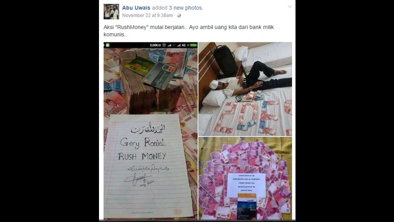 Abu Uwais menulis Ayo Ambil Uang dari Bank Komunis