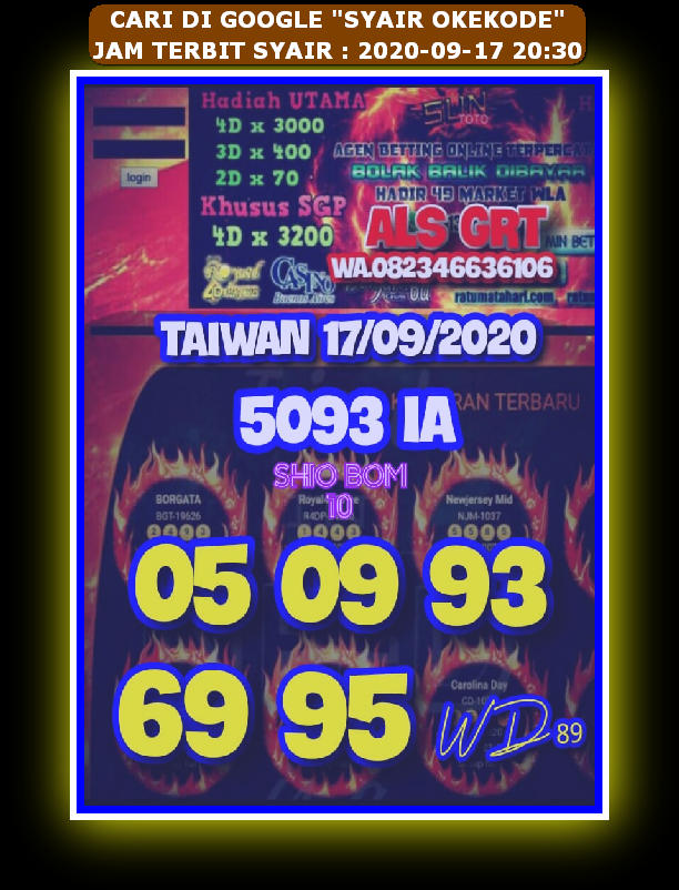 Kode syair Hongkong Kamis 17 September 2020 29