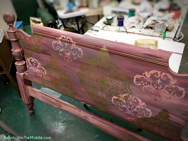 headboard with medallion stencils and chalk paint