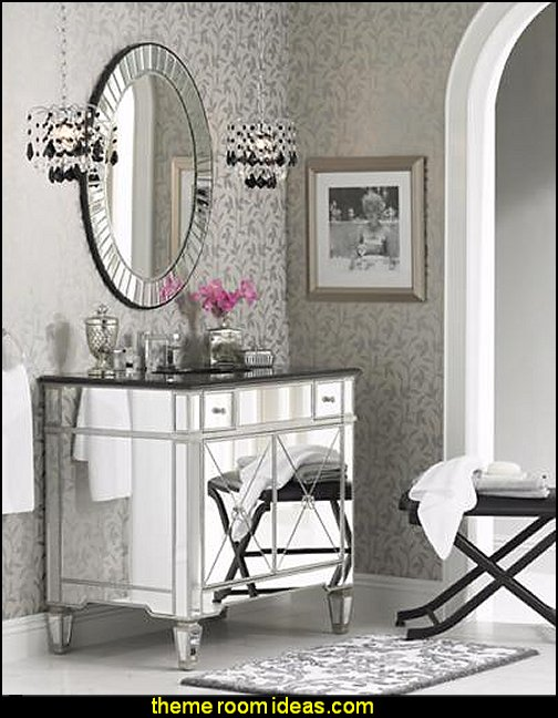 mirrored furniture  hollywood glam luxe style