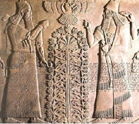 Babylonian bas-relief of Asherah tree