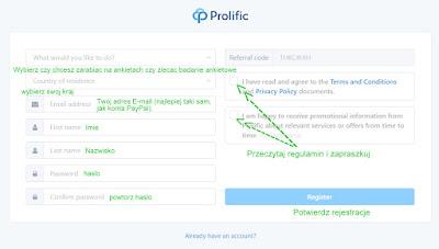 Prolific.ac, rejestracja