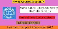 Sidho-Kanho-Birsha University Recruitment 2017– 53 Junior Assistant