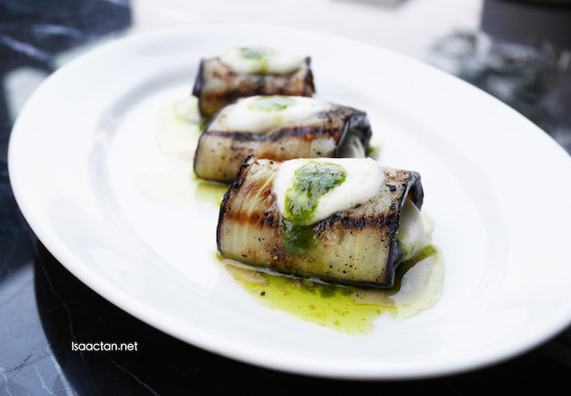 Grilled Eggplant with Buffalo Mozzarella & Pesto - RM23