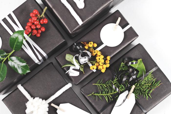 weihnachtsgeschenke verpacken ideen edel in schwarz. Black Bedroom Furniture Sets. Home Design Ideas