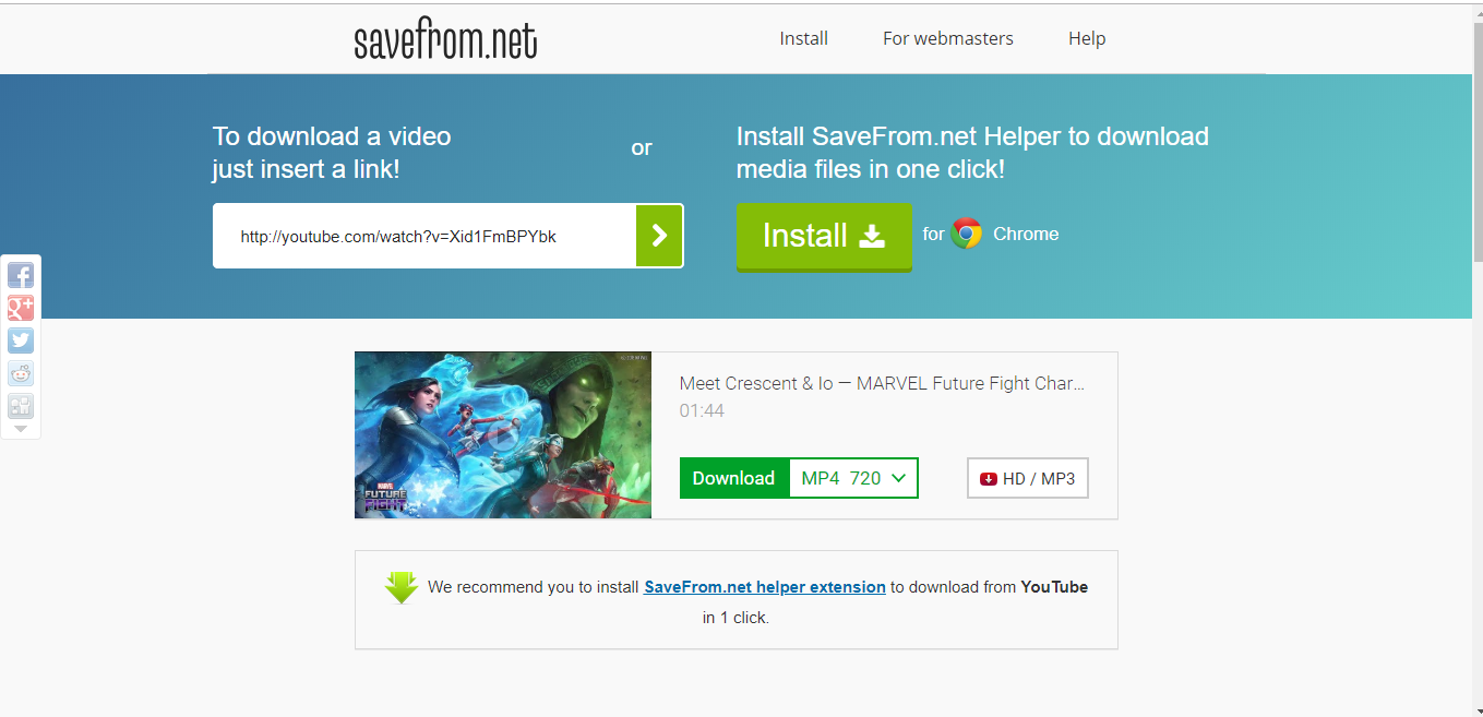 savefrom net download youtube video chrome