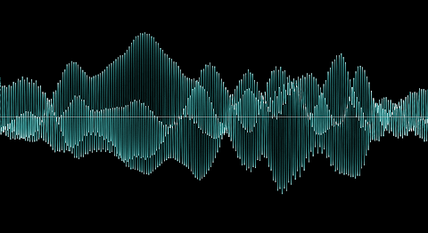 [Image: An oscillogram of a signal varying in both time and frequency, revealing inner structure as brightness variations.]