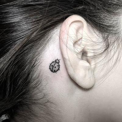 behind ear Small Ladybug Tattoo