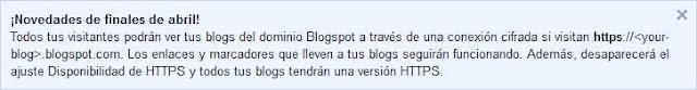 Aviso de Blogger sobre el cambio de protocolo a https