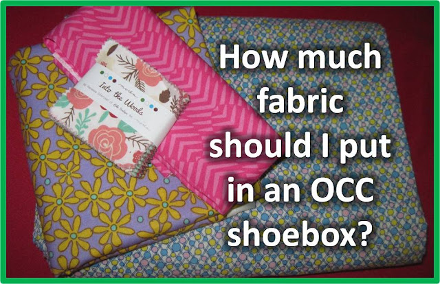 How much fabric should be included in an Operation Christmas Child shoebox?