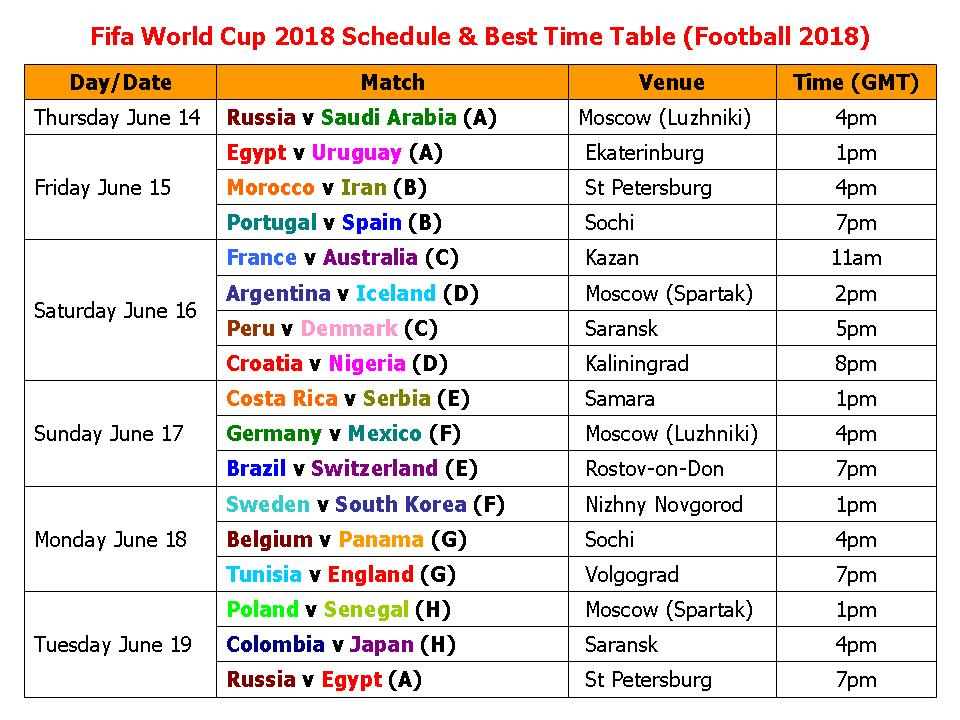 Learn New Things Fifa World Cup 2018 Schedule  Best Time Table